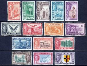 SARAWAK — SCOTT 180-194 (SG 171-185)— 1950 KGVI PICTORIAL SET — MH — SCV $121.65