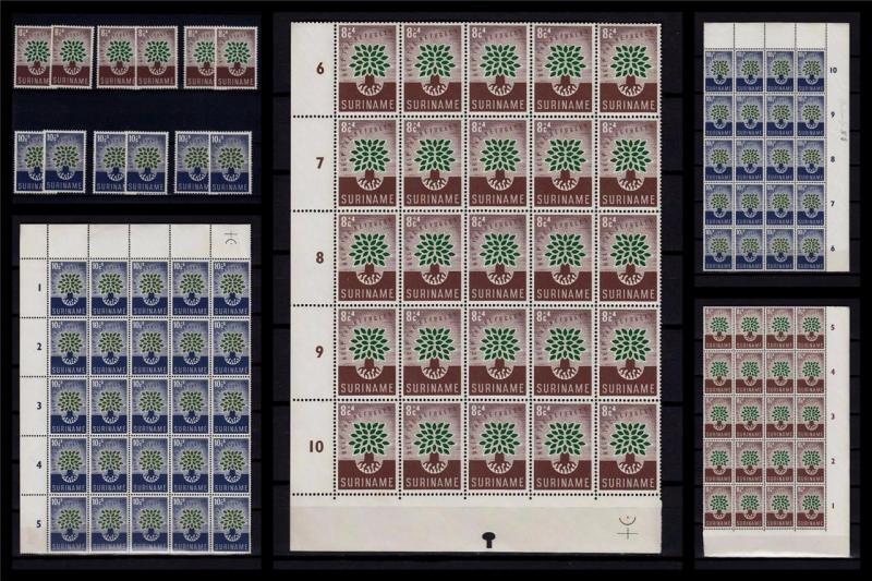 Suriname 1960 MNH Large Lot Blocks Part/Sheets Doubles Refugees 100+Stamps #B716