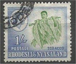 RHODESIA & NYASALAND, 1959, used 1sh, Tobacco, Scott 165