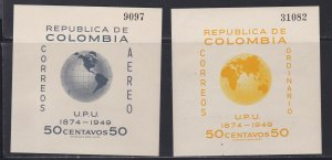 Colombia # 587, C199, UPU 75th Anniversary, Souvenir Sheets, NH, 1/2 Cat.