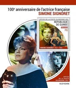 GUINEA - 2021 - Simone Signoret - Perf Souv Sheet -Mint Never Hinged