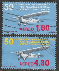 MEXICO C561-C562 50th Anniv 1st Air Mail Route. USED. (782)