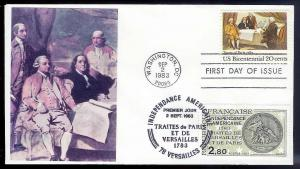 UNITED STATES FDC 20¢ Treaty of Paris DUAL 1983 cacheted