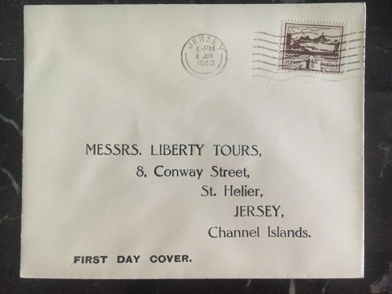 1943 Jersey Channel Islands Occupation First Day Cover FDC Liberty Tours