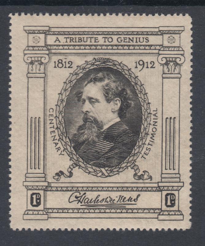 Great Britain, MNH 1912 Charles Dickens engraved Cinderella, VF