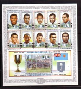 Fiji Sc 805 1997 Rugby Champs stamp souvenir sheet mint NH