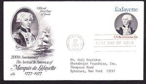 1716 Lafayette ArtCraft FDC with neatly typewritten address