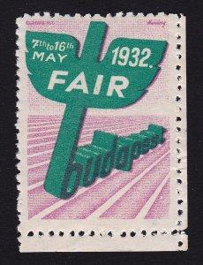 REKLAMEMARKE HUNGARY BUDAPEST 1932 TRADE FAIR POSTER STAMP