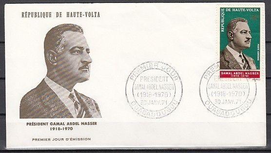 Burkina Faso, Scott cat. C90. President Nasser issue on a First day cover.