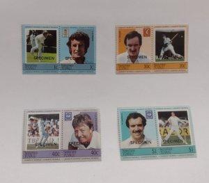 O) 1984 TUVALU, NANUMEA, SPECIMEN, CRICKET PLAYERS, SPECIMEN, SE-TENANT, J.A....