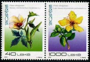 HERRICKSTAMP NEW ISSUES ALBANIA Sc.# 3022 Flora 2018 Setenant