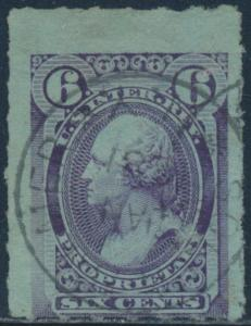 #RB17c ROULETTED 6; 6¢ VIOLET BLUE -- RARE -- EX-DEATON CV $900.00 BR2018