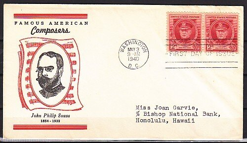 United States, Scott cat. 880. Am. Composer J. P. Sousa, First day cover. ^