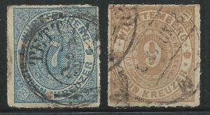 German States Wurttemburg Scott #50-51 Used Stamps