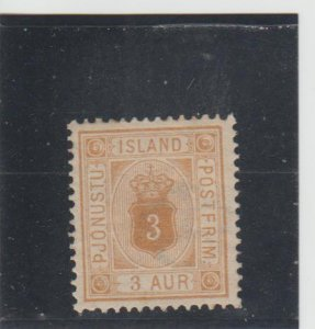 Iceland  Scott#  O4  MH  (1876 Official)
