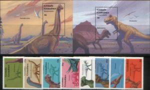 Grenada Grenadines 1994 prehistoric animals dinosaurs set+2s/s MNH