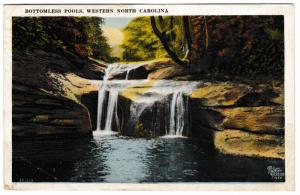 ASHEVILLE NC BOTTOMLESS POOLS WESTERN NC 1920 POSTCARD CANCELLED 1C