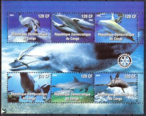 Congo 2004 Dolphins Sheet of 6 MNH Cinderella !
