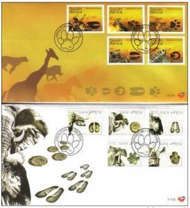 South Africa 2006 2 FDC Animal Dinosaur Giraffe Zebra Mammal Fauna Nature Stamps