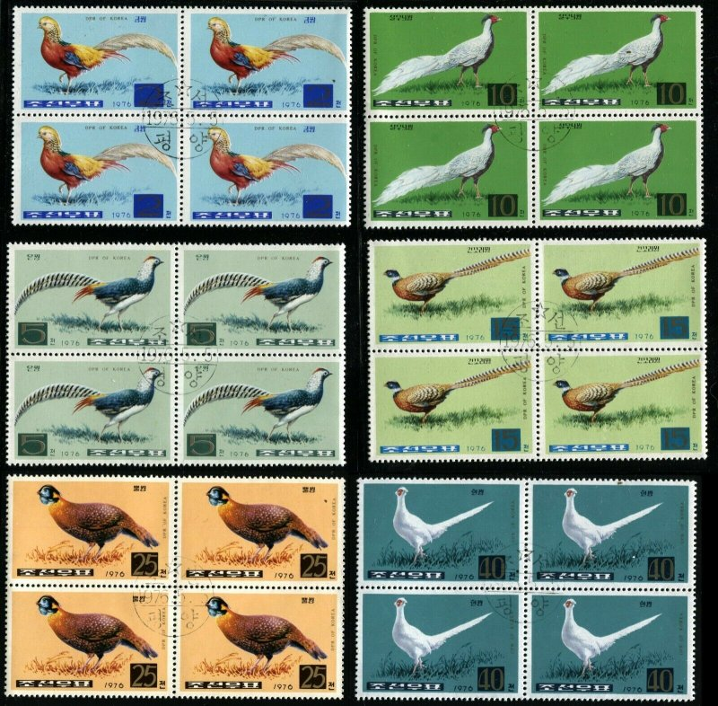 KOREA Birds PHEASANTS 6 Blocks of 4 Stamps Postage Topical CTO 1976