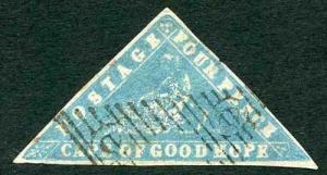 COGH SG14 4d Pale Milky Blue WOODBLOCK Triangle (Thin top right)