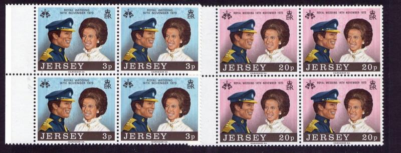 Jersey 1973  QE II, Multi-coloured Royal Wedding Marginal. BLOCK of 4 MNH