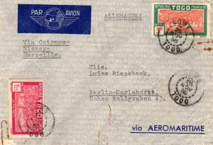 Togo 1.25F and 3F Oil Palms 1938 Lome, Togo Airmail to Berlin, Germany.  Via ...
