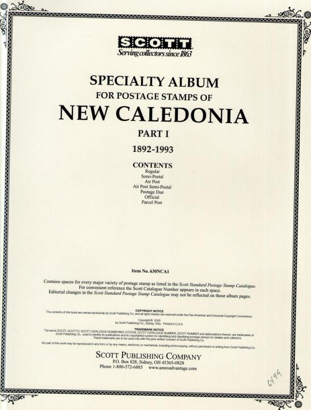 Scott Specialty Album pages for New Caledonia part 1