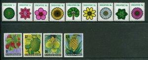 Singapore Scott 189-201 Flowers and Fruit, Mint NH, 1973