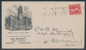 SPOKANE COUNTY COURT HOUSE ADVT 1901 COVER SPOKANE WASH. CDS BR4194 HSAM