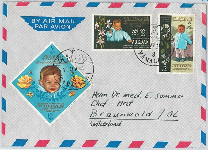 58846 -  JORDAN - POSTAL HISTORY: COVER  1964 - ROYALTY flowers ROSES children