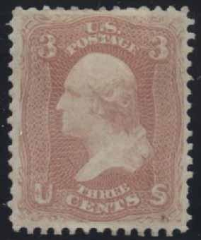 US Scott #65 Mint, VF, Nibble, Hinge Remnant