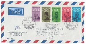GERMANY 1968 OLYMPIC Set on N. GERMAN LLOYD MS EUROPA West Indies Cover
