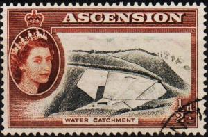 Ascension. 1956 1/2d S.G.57 Fine Used