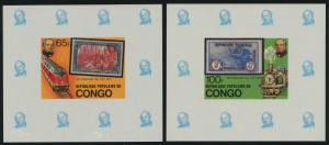 Congo PR 499-502 Deluxe Sheets MNH Rowland Hill, Train, Aircraft, Stamp on Stamp