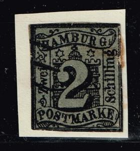 GERMANY STAMP HAMBURG Coat of Arms STAMP TIED ON PAPER