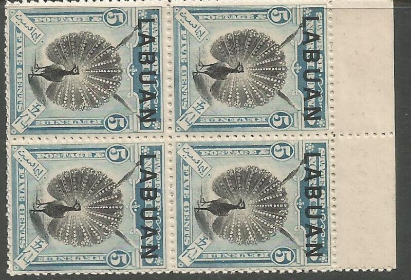 Labuan Bird SG 114 Block of 4 Top Margin MNH (2cws)