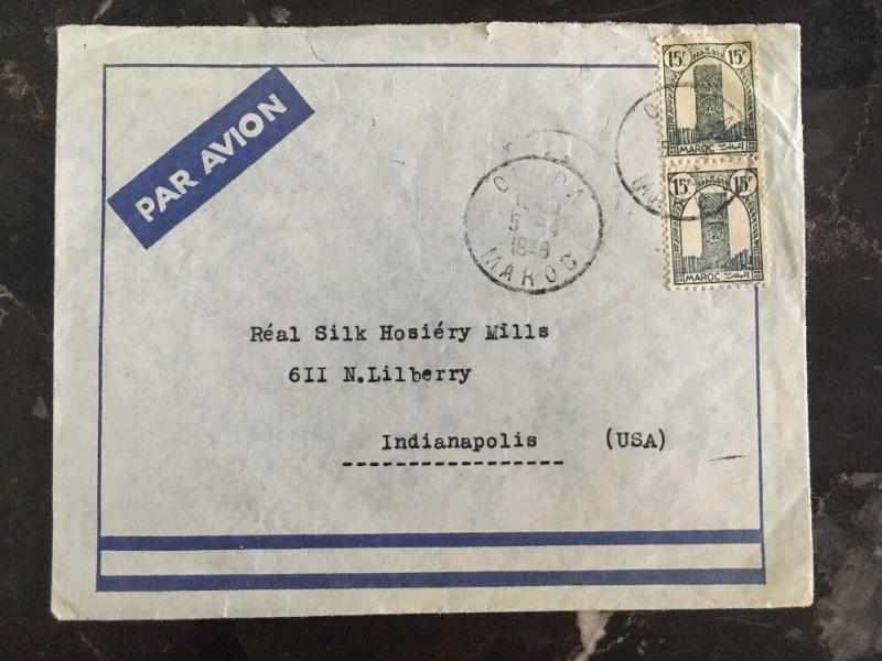 1949 Oujda Morocco Commercial Airmail COver to Indianapolis Usa