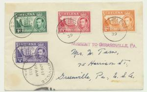 ST HELENA 1939, GV1 VALUES TO 2d ON MISSENT COVER TO USA (SEE BELOW)