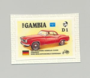 Gambia #622, Automobiles, Ameripex 1986 1v Imperf chromalin proof mounted