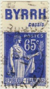 FRANCE - 1937 Pub BYRRH (cassis) supérieure sur Yv.365b 65c Paix Obl. TB