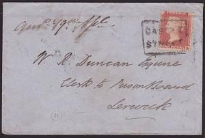 GB SCOTLAND 1858 cover to Shetland with CASTLE / STREET Scots local cancel..6459