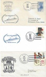 US Naval Cover USS Sacramento AOE1  1964, 1978, 1984