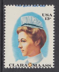 US Sc 1699 MNH. 1976 13c Clara Maass MISPERF, VF ERROR