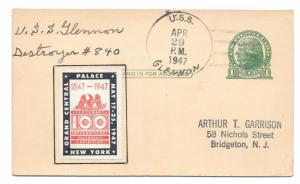 CIPEX Cinderella UX27 1947 Navy Ship Cancel USS Glennon DD 840 Poster Stamp
