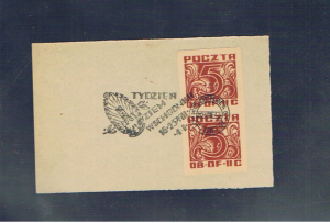 WOLDENBERG OFLAG 11C 5f pair affixed to paper plus one copy unused