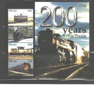 PALAU  2005  TRAINS MS.#830  MNH