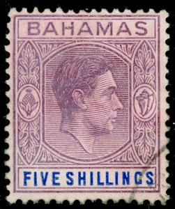 BAHAMAS SG156e, 5s red-purple & dp brt blue, FINE USED. Cat £24. CHALKY.