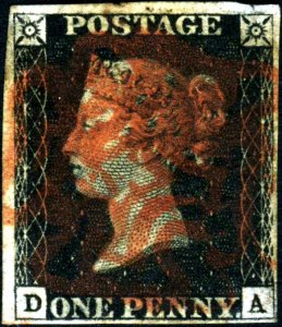 Great Britain Penny Black DA Four Margins