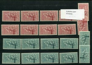 D093719 Europa CEPT 1962 Tree with 19 Leaves Wholesale 10 Series MNH Ireland
